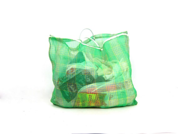 Large Vintage Tote Laundry Market Bag Nylon Plastic Tote Grocery Bag Green and Blue Reusable Carry All Travel Beach Bag