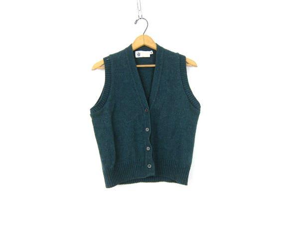 Blue Green Wool Vest Sleeveless Winona Knit Sweater Cropped Button Up Sweater Vest Women's Medium