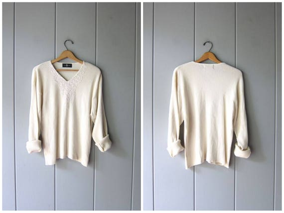 90s White Ribbed Top Long Sleeve Cotton Rib Shirt Thin Sweater Top 1990s Minimal Basic Tee Preppy Pullover Vneck Top Womens Large XL