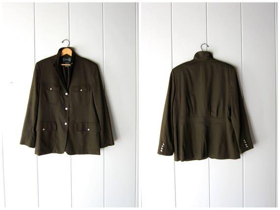 Vintage 90s Dark Green Wool Blazer Oversized Wool Jacket Button Up Preppy Fall Coat Modern Chic Ralph Lauren Army Jacket Womens 16 Large