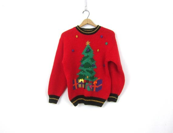 Red Christmas Tree Sweater Ugly 1980s Tacky Xmas Sweater ICE SKATING Pullover Popcorn Knit Party Sweater  Womens Size Medium