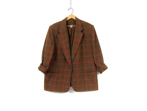 Brown Wool Mix Preppy Blazer Jacket Button Up Blazer Preppy Fall Coat 1990s Modern Equestrian Prep Jacket Womens Plus Size 16