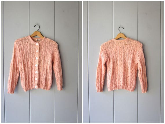 Vintage 50s Mohair & Wool Sweater Light Pink Cropped Cardigan Sweater Fuzzy Open Knit Crop Top Button Up Sweater Preppy Womens XS Small