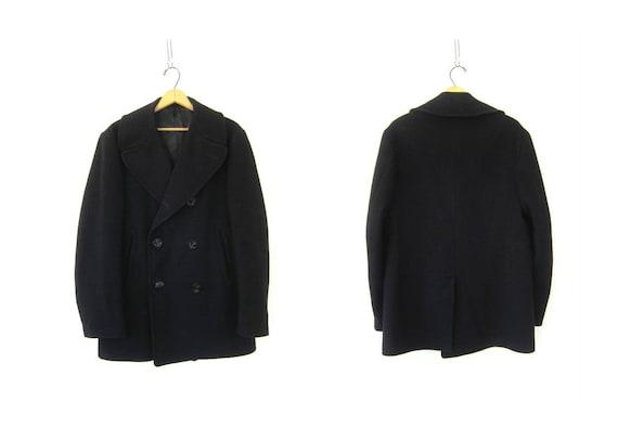 Black Wool Peacoat Men's vintage wool pea coat Structured Dress Coat Anchor Button Coat Men's Size 40