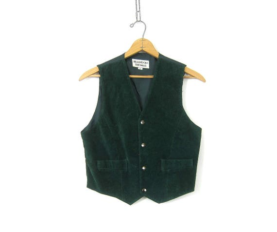 Cropped Suede leather vest Dark Green Snap Down Boho Chic Biker vest Casual Sleeveless Vest Jacket Tank Women's Size Medium