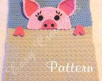 PDF CROCHET PATTERN Peek-a-Pig, Pig Pajama Pillow, boy Pj bag, girl Pj pillow, Pj animal bag, child Pj pet pillow, bed Pj pillow