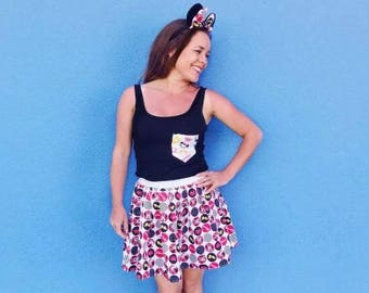 Adult Minnie Mouse Skirt Matching Minnie Mouse Ears Retro Minnie Outfit Various Lengths To Choose From