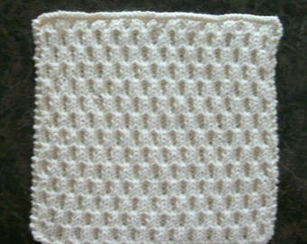 Hand Knit Dishcloth - Color is called Soft Ecru - measures approximately 8x81/2 inches