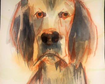 SPECIAL Whimsical dog art, pastel drawing / watercolor painting, contemporary pet portrait, animal art, Texas artist