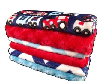 SALE Navy and Red Train Set Baby Burp Cloths, Navy Chevron Baby Burp Burp Rags, Burping Accessories