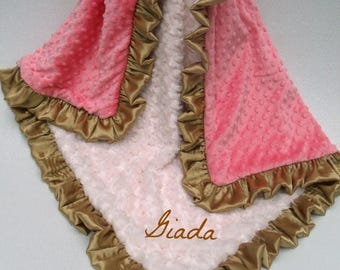 SALE Cream, Gold, and Coral Pink Dot Minky Baby Blanket Can Be Personalized