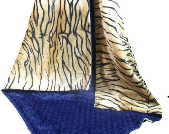 SALE Minky Baby Blanket in Tiger Print with Navy Minky Dot,  Three SizesCan Be Personalized