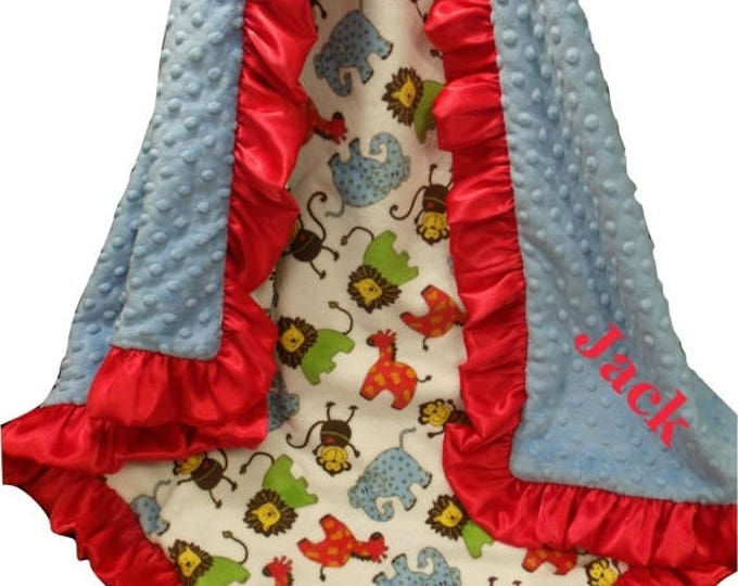 SALE Personalized Minky Baby Blanket, Red and Blue Jungle Blanket, Red and Blue Woodland Animals Blanket, Safari Theme Embroidered Blanket