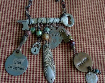 Steampunk Trash To Treasure Charm Necklace, Happy Girl Charm Necklace - REDuCED