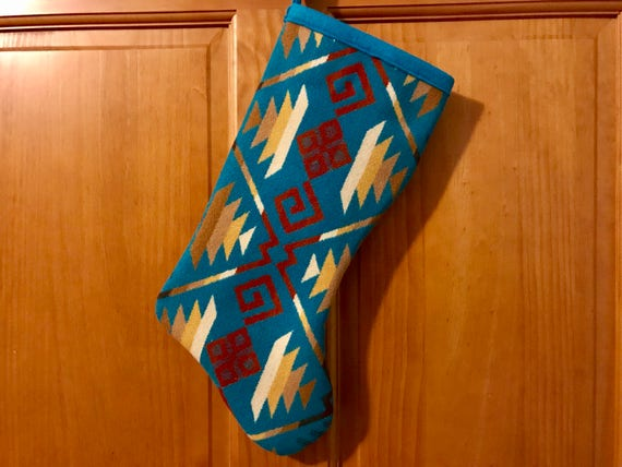 Christmas Stocking XL Wool Turquoise Coyote Butte