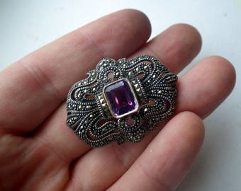 Judith Jack Sterling Pin - Amethyst and Marcasite