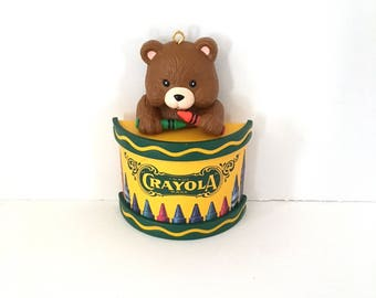 Vintage Bear Crayola Crayon Christmas Ornament by Binny & Smith 1992, Bear with Red and Green Crayons