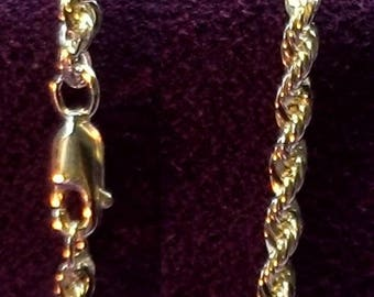 "Sterling Silver ~ 3mm Heavy French Rope chain 18"" inch, 20 "" inch and  24"" inch  & 30""inch long ~  to be ordered ~ #460-140 ~ FDK"