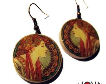 * Earrings * Alphonse Mucha: Lyane