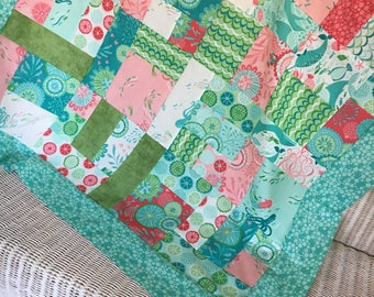 Unfinished Quilt Top Coral Queen of the Sea by Moda Stacy Iest Hsu 42 x 42 - Ready to quilt - DIY / shower gift / Mermaid, Ocean, Beach Girl