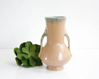 Vintage 1930s Roseville Pottery Orian Vase / Antique Roseville Tan and Turquoise Vase / Roseville Orian Pottery Vase
