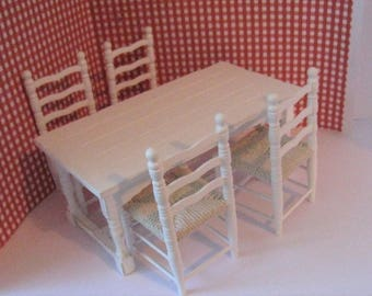 Dollhouse Country style table, four chairs, , Tudor style,, white table, distressed table, kitchen, dining twelfth scale, a dollshouse piece