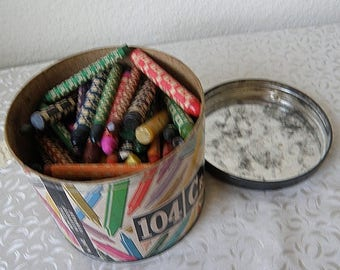 christmasinjuly vintage CRAYONS in round paper box with metal lid