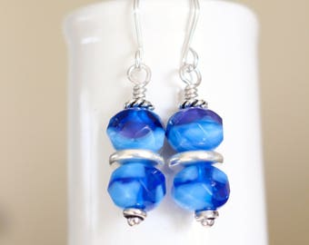 Blue and Silver Earrings, Czech glass earrings, Sky blue earrings, blue stacked earrings, blue drop earrings