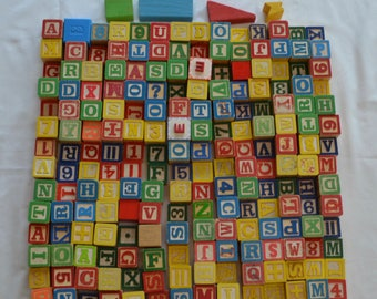 Vintage WOOD ALPHABET BLOCKS abc's lot of 200