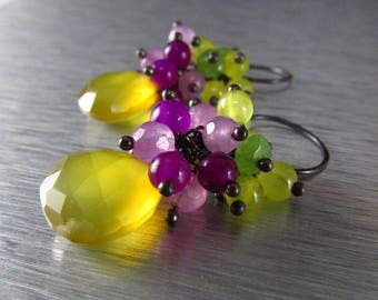 Colorful Neon Gemstone Cluster earrings, Yellow Chalcedony Earrings