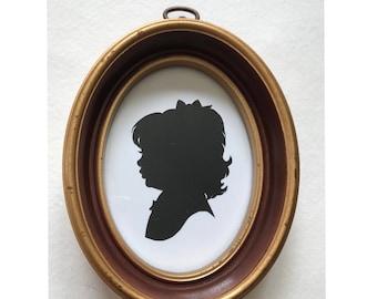 "FRAMED Custom Silhouette in Real Vintage Oval Frame 3 1/4 x 4 1/2"""