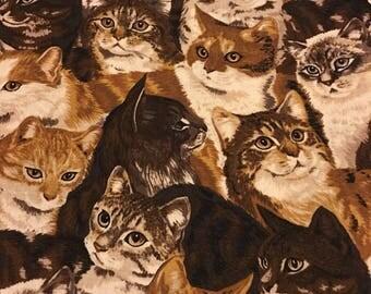 Brown Cats Fabric Destash 2 Yards.