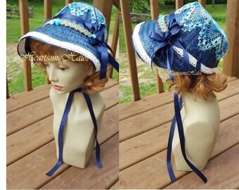 Regency costume hat bonnet straw crochet navy blue white  OOAK stage reproduction Austen