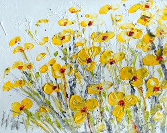 YELLOW FLOWERS OIL Impasto Original Painting on Canvas Art by Luiza Vizoli