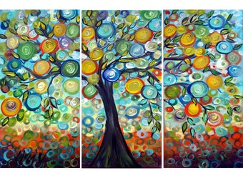 Olive Tree Original Painting Large Whimsical Painting on Canvas Modern Abstract Tree of Life 36x24 Ready to Ship
