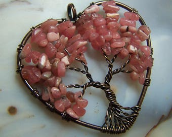 Rhodochrosite Tree of Life heart pendant - pink crystal stone natural chip beads - bead or made to order necklace bronze gold coyoterainbow