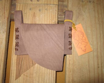 BROWN Leather Fringed Belt Pouch / Wallet / Cell Phone Carrier