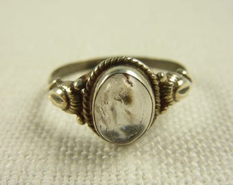 Size 8 Vintage Sterling Quartz Ring