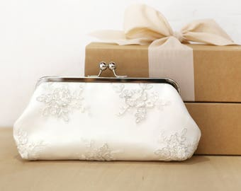 Peony Silver Alencon Bridal Clutch | Embroidery tulle
