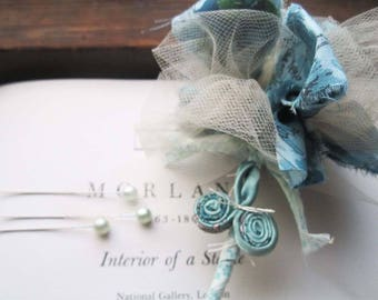 Vintage Wedding Flowers, Corsage and Boutonniere,Wedding Flowers sets,Unique brides, Celebration Bouquets, Blue Green Neutrals,1950's Tulle