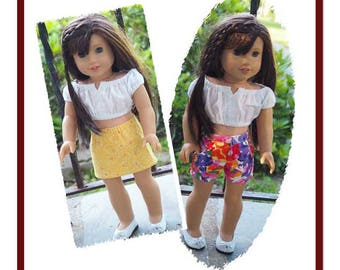 18 inch Doll Clothes - Girl Doll Clothes - Peasant Cropped Top - Shorts - Skirt