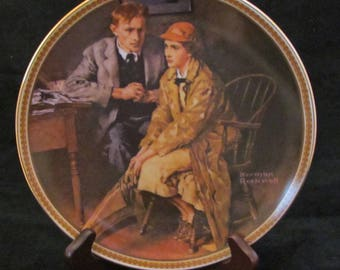 "Norman Rockwell Collector Plate ""Confiding in the Den "" 1980's Vintage Porcelain"