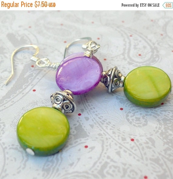 SALE, 50%, Paul Shell earrings in drop style with neon green and purple rounds