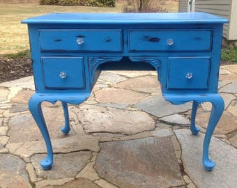Shabby Chic Painted Cottage Desk, Chalk Paint, French Stencils, heavily distressed, New Crystal knobs, Sapphire Blue
