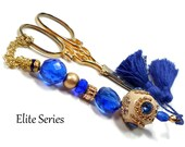 Scissor Fob Scissor Keeper Scissor Minder Elite Series Blue Beige Quilting Cross Stitch Needlepoint Sewing