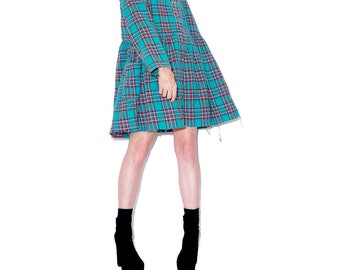vintage 90s PLAID FLANNEL DRESS // adorable giant oversized shirt dress pajama dress tunic tent dress plaid dress crop top cropped raw hem