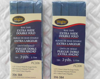 Wrights Extra Wide Double Fold Bias Tape, Stone Blue PC 206 584, Set of 2 Two