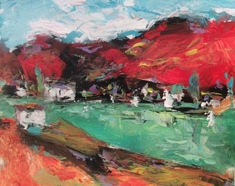 Resort Cove, Expressive lake cove harbor coast painting in red green orange palette knife art  10 x 10 in, Russ Potak