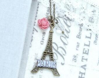Paris Pendant Necklace Eiffel Tower Necklace French Necklace Long Necklace Paris Gift Eiffel Tower Jewelry