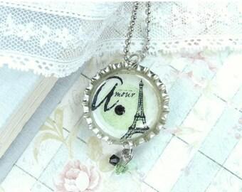 Paris Necklace Eiffel Tower Necklace Bottle Cap Necklace French Necklace Paris Jewelry Shabby Chic Necklace